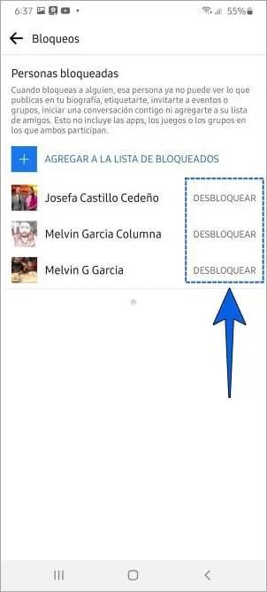 Cómo desbloquear a alguien de Facebook desde el celular