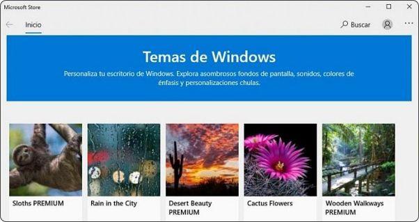 Obtener más temas de Windows en Microsoft Store