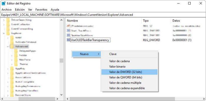 Barra de tareas más transparente en Windows 10