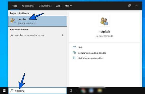 Escribe netplwiz en Inicio para entrar a Cuentas de usuario de Windows