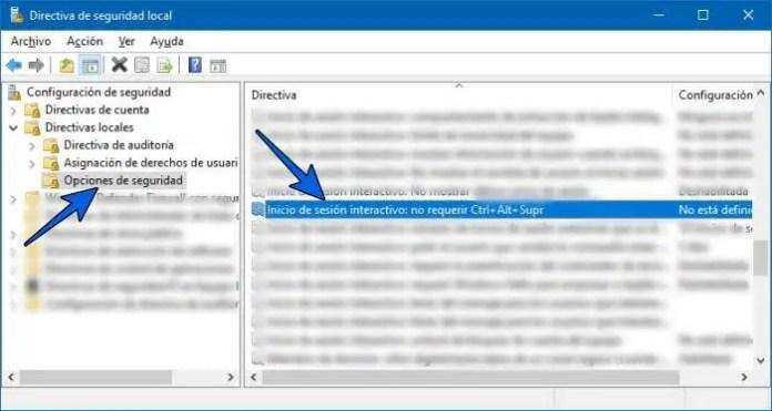 Habilitar o quitar Ctrl+Alt+Supr al iniciar Windows 10