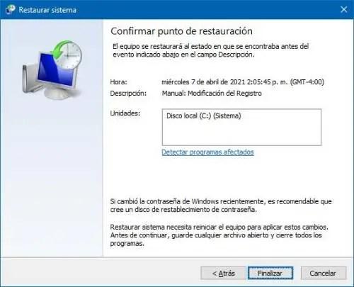 Restaurar Windows 10 a un punto anterior