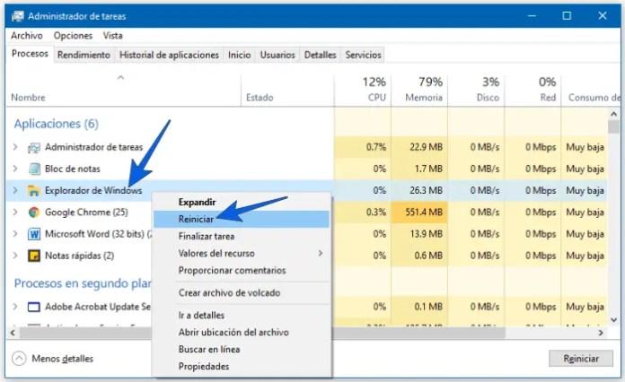 Restablecer el menú inicio reiniciando el Explorador de Windows 10