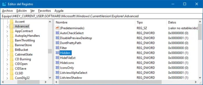 Mostrar archivos ocultos en el Registro