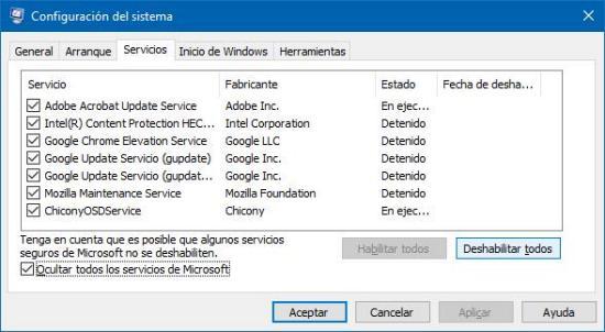 Deshabilitando servicios innecesario de Windows