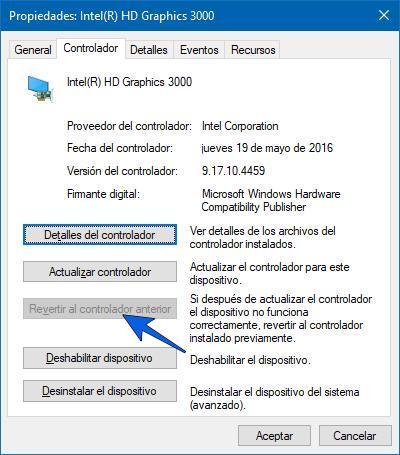 Revertir el controlador de pantalla