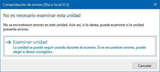 Comprobar errores en disco duro de Windows 10