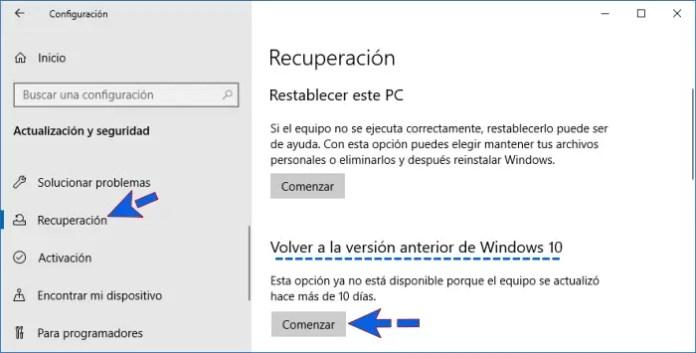 Volver a versión anterior si Windows 10 se congela.