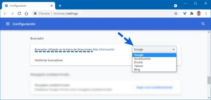 Como cambiar el buscador predeterminado en Chrome