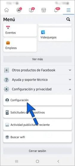 Ir a la Configuración de FB