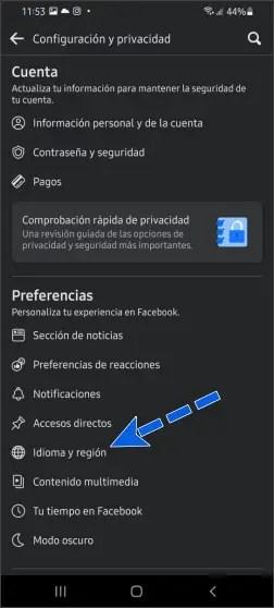Cómo cambiar idioma en Facebook desde el celular