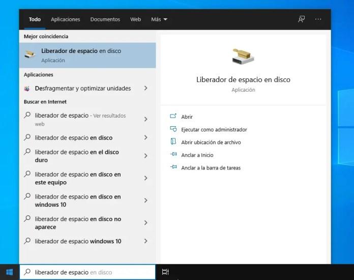 Abrir el Liberador de espacio en disco de Windows 10