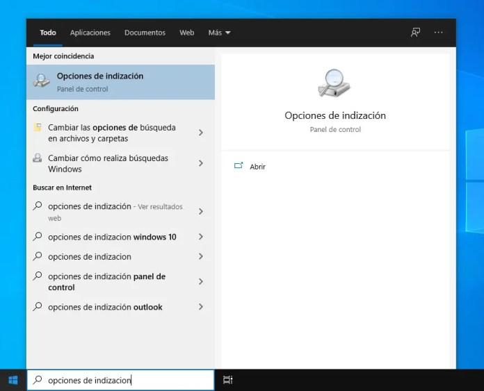 Abrir Opciones de indización de Windows