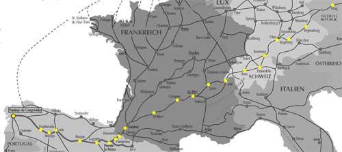 Jakobsweg Karte Prag Santiago