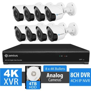 8MP Outdoor Security Camera System with 8 Channel 4K DVR - 4TB HDD