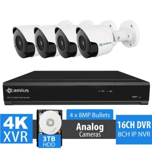 4 8MP Security Cameras with Hybrid 4K 16 Channel DVR - 3TB HDD