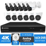 16 Channel DVR Security System, 12 4K Analog Cameras, 3TB