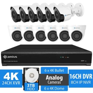 16 Channel DVR Security System, 12 4K Analog Cameras, 3TB