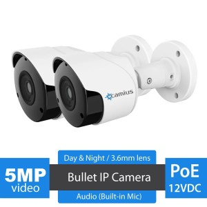 Camius 5MP PoE IP Bullet security camera 2 pack