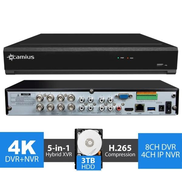 4K Security DVR 8 Channel DVR, 4CH IP NVR - 3TB - TriVault4K184