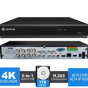 4K Security DVR 8 Channel DVR, 4CH IP NVR - 3TB - TriVault4K184