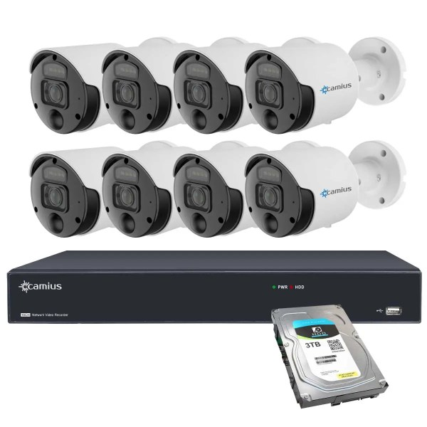 4K Camius Spotlight Cameras with audio recording 16 channel NVR