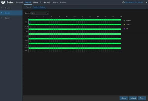 IPVAULT1128PR recording schedule