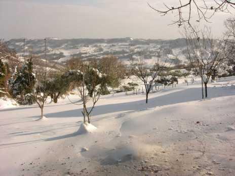 La valle completamente ammantata di neve.