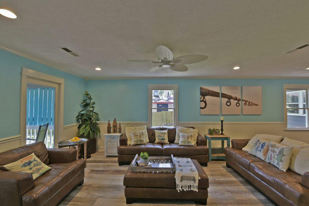 Living room in fishing lodge