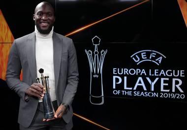 Inter Milan forward Romelu Lukaku has been named the 2019/20 UEFA Europa League Player of the Season.