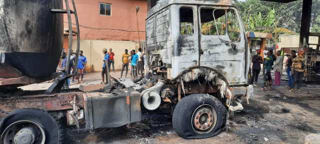Filling Station Gut by Fire As Tanker Offload Diesels In Anambra