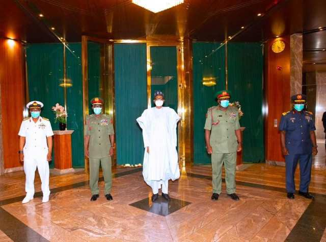 Be patriotic, serve the country well – President Buhari Charges New Service Chiefs