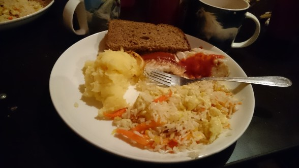 Fish from Issy Kul, potatoes, rice, bread....just what was needed.