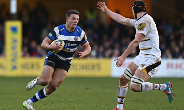 Playing at inside centre for Bath vs Wasps