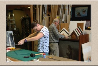 student learning to frame at Campbelltown Framing Gallery