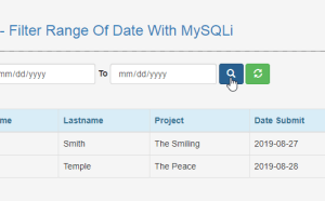 filter range of date with mysql using php