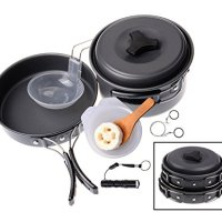 (11-in-1) Outdoor Camping Hiking Cookware Kits Wolfyok(TM) Portable Backpacking Non-stick Cooking Ware Pot Pan Picnic Bowl Set + Stainless Steel Wire Saw + Waterproof Super Bright Flashlight