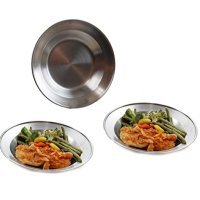 Wealers 8.5 Inch Stainless Steel Round Plate Set for Camping Outdoor with a Mash Carry Bag (Set of 3)