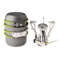 Camping Stove Cookware, Petforu Outdoor Camping Hiking Backpacking Picnic Cookware Cooking Tool Set Pot Pan + Piezo Ignition Canister Stove Propane Canister
