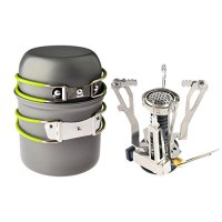 GkGk® Camping Stove + Camping Pot Backpacking Cookware Set Cooking ToolS Camping Pot Pan + Hiking Stove for Propane Canister
