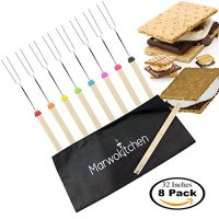 Marwokitchen Marshmallow Roasting Sticks - Set of 8 - Telescoping Smores Sticks & Hot Dog Skewers Best for Camping Cookware Bonfire Pit - Camping accessories Travel Grill - Bonus FREE Canvas Bag