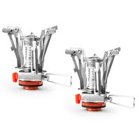 Etekcity 2 Pack Ultralight Mini Outdoor Backpacking Camping Stove with Piezo Ignition (Orange)