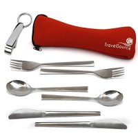 TravelSource - 2-person Stainless-Steel Camping Eating Utensils Kit + Case & Bottle Opener