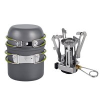 Isport Camp Stove Outdoor Camping Stove Cookware Hiking Backpacking Picnic Cookware Cooking Tool Set Pot Pan + Piezo Ignition Canister Stove Propane Canister