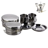 Camping Cookware AIWAYING Cooking Tool Set Pot Pan (8pcs/set, 410 Stainless Steel) + Camping Stoves with Piezo Ignition For Trekking Hiking Backpack Picnic Outdoor EDC Tactical Sets