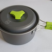 Camping Cookware - Cooking Set includes Pot, Pan, Utensils, Cups, and cleaning Loofah. Nonstick Equipment for Hiking, Backpacking, and Camp Cooking
