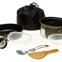 10-PC Camping Mess Kit with LED Headlamp for Solo Outdoor Enthusiast