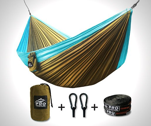ProVenture Double Camping Hammock & FREE 9ft straps - Lightweight & Compact - For Backpacking