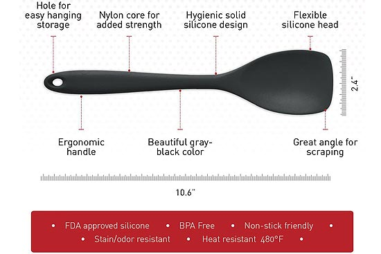 StarPack, Premium Silicone Spoonula - Spatula Spoon with Hygienic Solid Coating