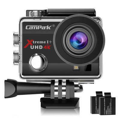 Campark ACT74 Action Camera 16MP 4K WiFi Waterproof Sports Cam 170 Degree Ultra Wide Angle Len with 2 Pcs Rechargeable Batteries and Mounting Accessories Kits